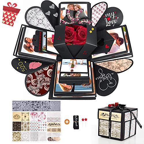 Explosions-Box DIY, Handgemachtes Scrapbook, Geschenkbox, Kreative Explosionsbox, Surprise Box, Explosions-Box für Geburtstag, Jahrestag, Valentinstag, Heiratsantrag - DIY Kreatives Fotoalbum