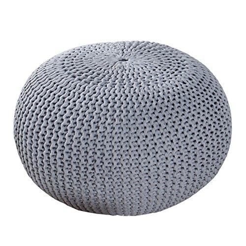 Invicta Interior Design Pouf LEEDS 50 cm grau Bezug aus Strick Garn Sitzgelegenheit Fußhocker Sitzpouf gepolstert Sitzkissen