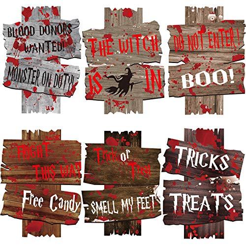 JoyTplay 6 Stück Halloween-Wellpappen-Schilder,Süßes oder Saures Yard Zeichen für Halloween, Outdoor, Haus, Thema, Party-Dekoration