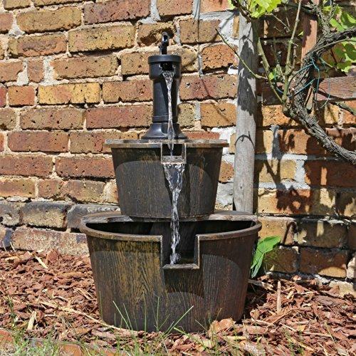 CLGarden Holz Design Springbrunnen DSB1 für Balkon Terrasse Garten Gartenspringbrunnen