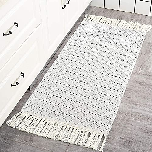 hi-home Boho Teppich, Baumwolle Gewebte Teppiche mit Quasten Gitter Muster Waschbar Teppich Retro Läufer für Wohnzimmer Schlafzimmer Eingangstür Küche 60x130cm (Grau)