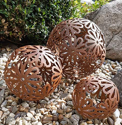 3er Set Dekokugeln Gartenkugeln Blüte Blume Metall 10+14+20cm Braun Rost-Optik Kugel Gartenkugel