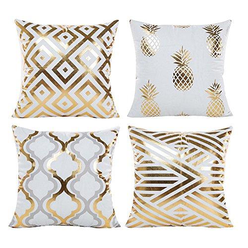 Souarts Kissenbezug Ultra weiche Gold Heißprägen geometrische Ananas Kissen Cover für Bett Sofa Wohnzimmer Schlafzimmer Büros 45x45 cm (Gold)
