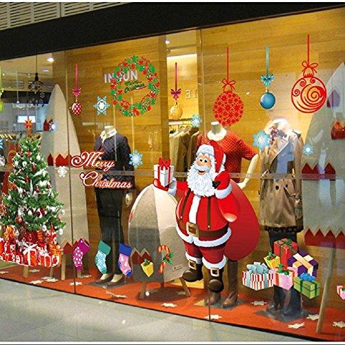 Tuopuda Weihnachtssticker'Frohe Weihnachten' Weihnachtsmann Weihnachtsbaum Weihnachten Strümpfe Weihnachten Geschenke Wandaufkleber Weihnachtsdeko (weihnachtsmann)
