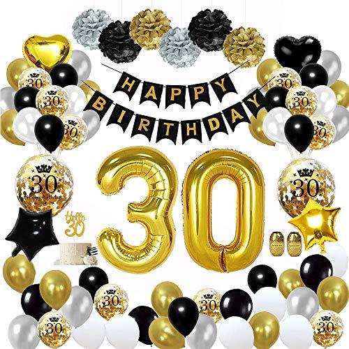 MMTX 30 Deko Geburtstag Schwarzes Gold, Geburtstag Party Dekoration mit Große 30 Luftballons, Happy Birthday Girlande, Papier Pom Poms für Männer Frauen Erwachsene Party Decor
