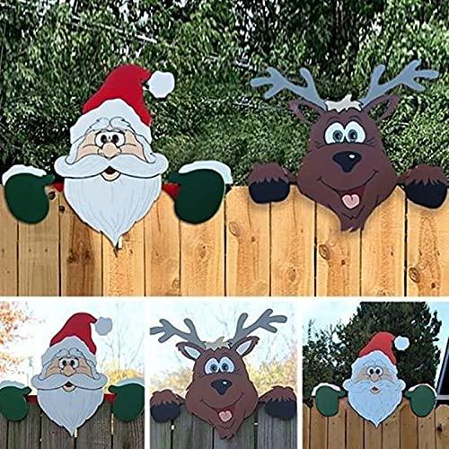 2021 Gartenfigur Weihnachts Gartendeko Weihnachten, Weihnachtsdeko Wetterfest-Weihnachtsmann Elch Figur Statue für Outdoor, Garten, Hof Gartenstecker Höhe 30cm x Länge 40cm (1*Weihnachtsmann +2*Elch)