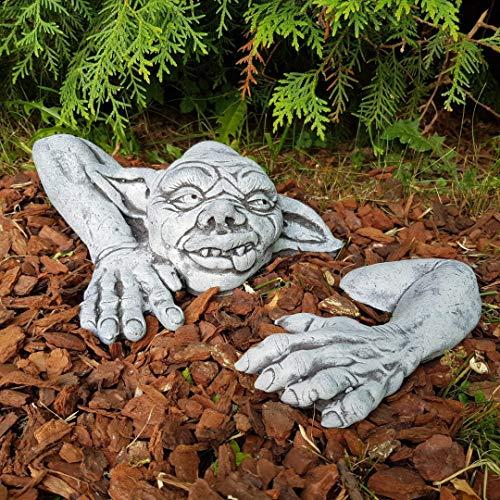 Gartendeko niedlicher Gargoyle frostfest handbemalt klein Steinfigur Deko für außen Balkon Terassen Garten Gartenfiguren Steinfiguren für Steingarten