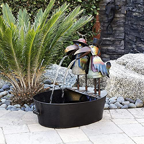 Fascino-M lustige Krähe Wasser Brunnen Statue, Brunnen Hof Kunst Dekoration, Outdoor Metall Krähe Wasser Brunnen Kunst Dekor, für Garten, Terrasse, Deck, Veranda