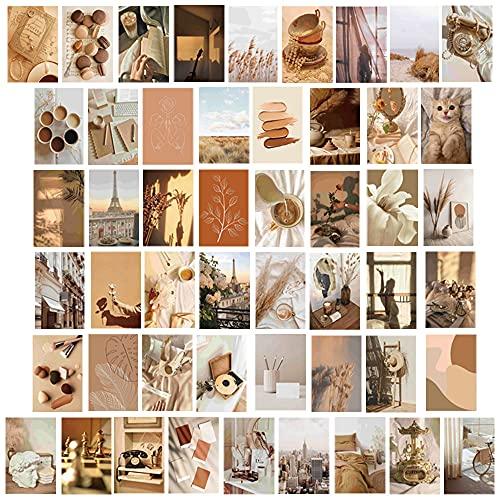 Kaffee Thema College Fotokarten Kit für Teen Mädchen Frauen College Student Schlafzimmer Wohnheim Zimmer Büro Wand Dekor Ästhetisch Hübsche Poster für Zimmer 50 Set 10x15 CM