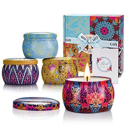 Yinuo Mirror Geschenke für Frauen, 4*5,6 Oz Duftkerzen Geschenkset für Frauen, Sojawachs Aromatherapie Kerzen für Muttertag,Weihnachten,Geburtstag, Valentinstag, Bad, Yoga