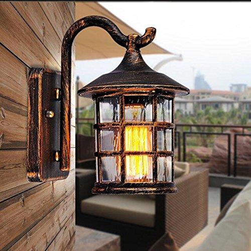 VanMe Antike, Rustikale Eisen Wandleuchte Wasserdichte Outdoor Wandleuchte Vintage Licht Flur Wandleuchter, Braun