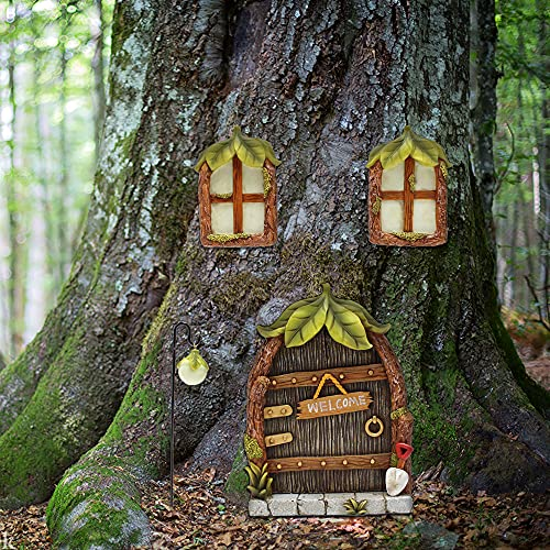 Meyas Miniatur Fairy Gnome Home Fenster und Tür, Garten Leuchtende Türen und Fenster aus Harz, Gartendeko Figuren Statuen, Garten Dekoration Skulptur Statuen Ornament,Leuchten im Dunkeln (Blattdesign)
