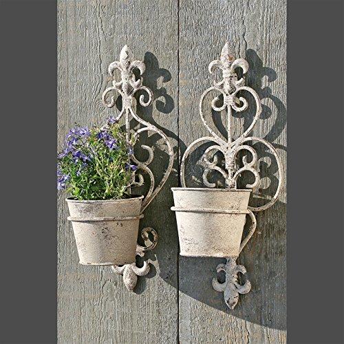 WAND KÖRBE BLUMENTOPF HALTER 2er SET Pflanzgefäß Gartendeko metall mit antik Optik Finishing