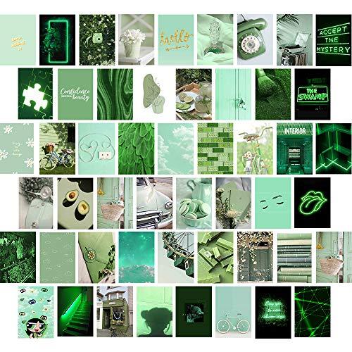 Grünes ästhetisches Wand-Collage-Set, Bilder für Zimmer, Ästhetisch, Mädchenzimmer-Dekor, Pretty Ins Stil Wandkunstdruck, Foto-Collage Kit für Wand Ästhetisches 50er-Set