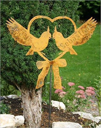 RDI Herz mit Tauben Wunschnamen + Datum, Rostiges Metall, Gartenfigur, Metall Figur, Gartendeko