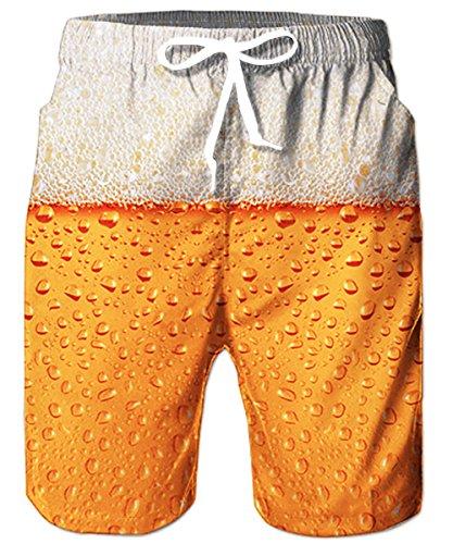 TUONROAD Lustige Badehosen für Männer 3D Bier Badehose Schnelltrocknend Herren Kurze Hose Badehose Strandshorts Sommer 3XL
