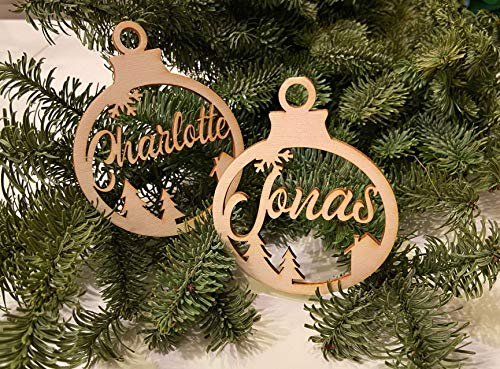 Christbaumkugel Deko Anhänger personalisiert mit Ihrem Namen oder Wunschtext Weihnachts-Ornament
