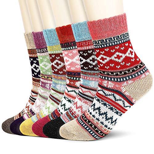 Jovego Socken Damen,6 Paar Damen Warme baumwollsocken Bunte Gemusterte Atmungsaktiv Warm Weich Bunte Farbe Premium Qualität Wollesocken Stricksocken Wintersocken