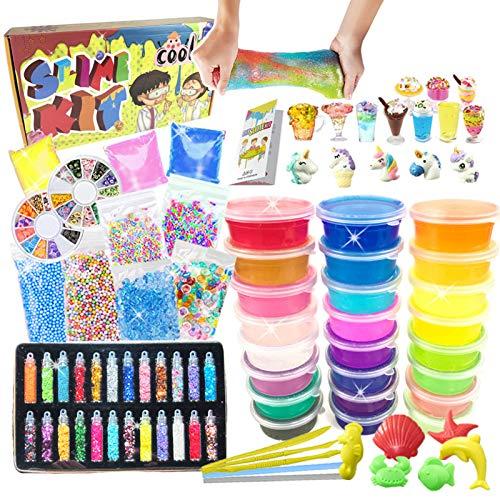 essenson DIY Slime Kit - Schleim Kit with 24 Colors Crystal Clear Slime, Slime Charms, Schleim Set für Kunsthandwerk für Kinder 6-12 Jahren mädchen