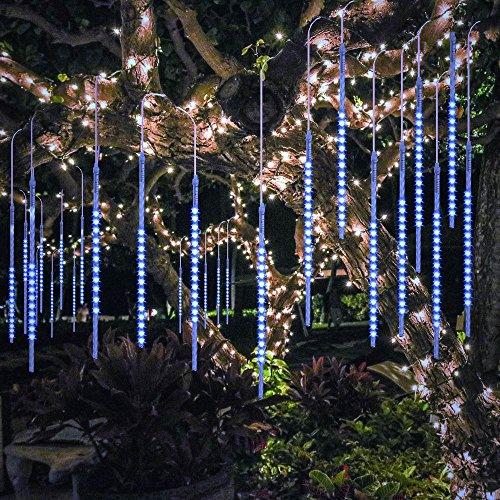 BlueFire Aufgerüstet Meteorschauer Lichterkette, 50cm 10 Spirale Tubes 540 LEDs Wasserdichte Schneefall Lichterkette für Draussen/Innenraum/Garten/Hochzeit/Party/Weihnachten Dekoration (Blau)