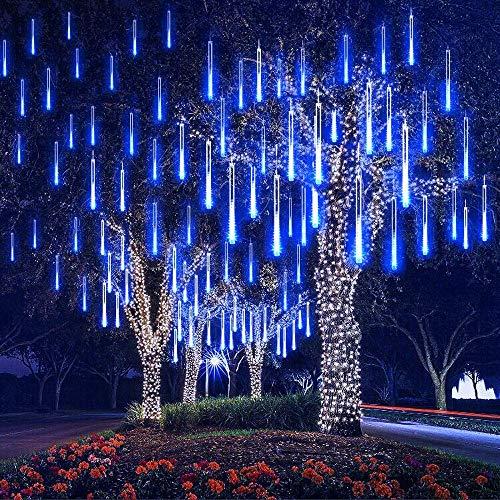 EEIEER 192 mini LED Eiszapfen Lichterkette sternschnuppe Licht für Außen balkon Garten Weihnachten Dekoration 8 StückTube 30 cm Blau